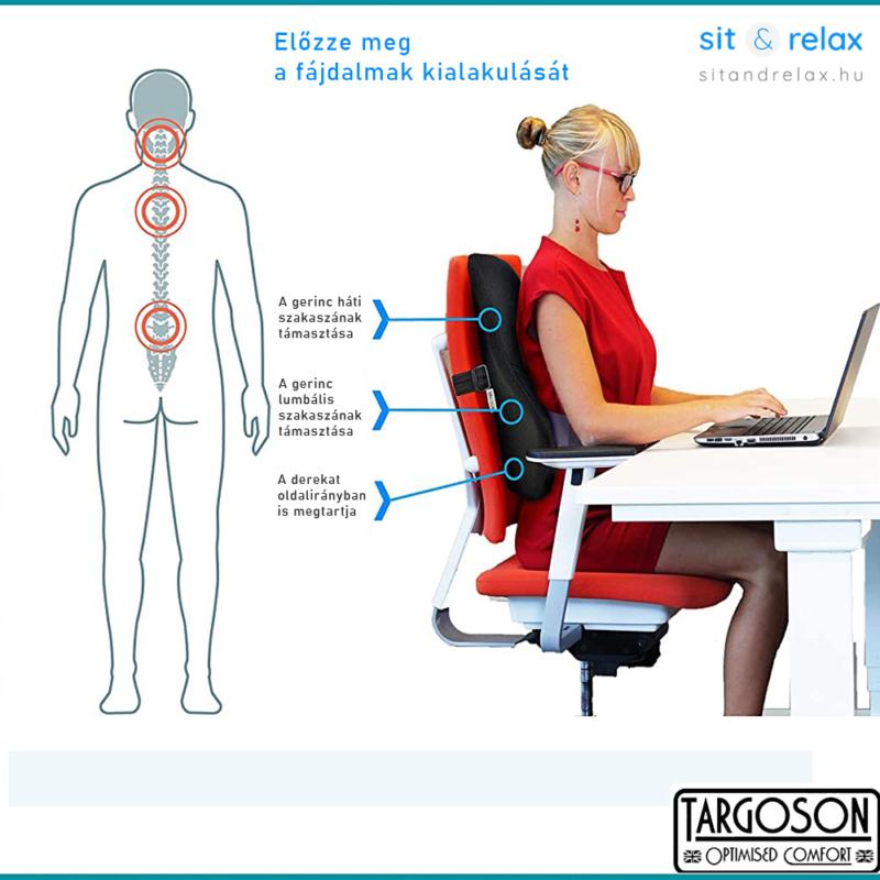 anatómiai tervezésű háttámasz, amely a derekat és a hátat is megtámasztja